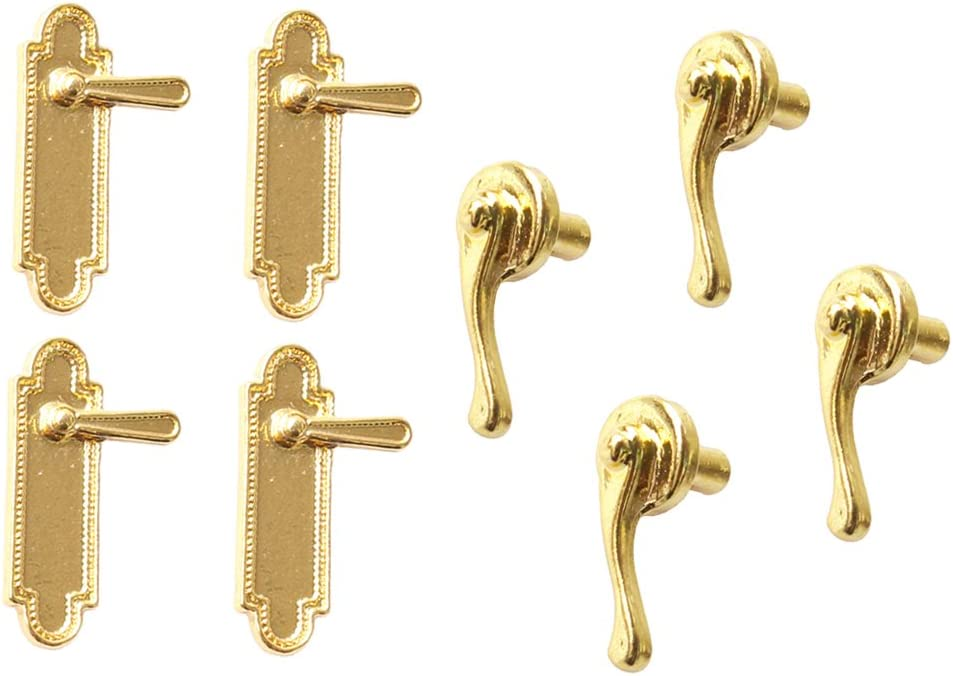 MonkeyJack 8Pcs 1/12 Miniature Dollhouse Vintage Hardware Metal Door Locks Handles Dolls House Furniture Accessories Gold