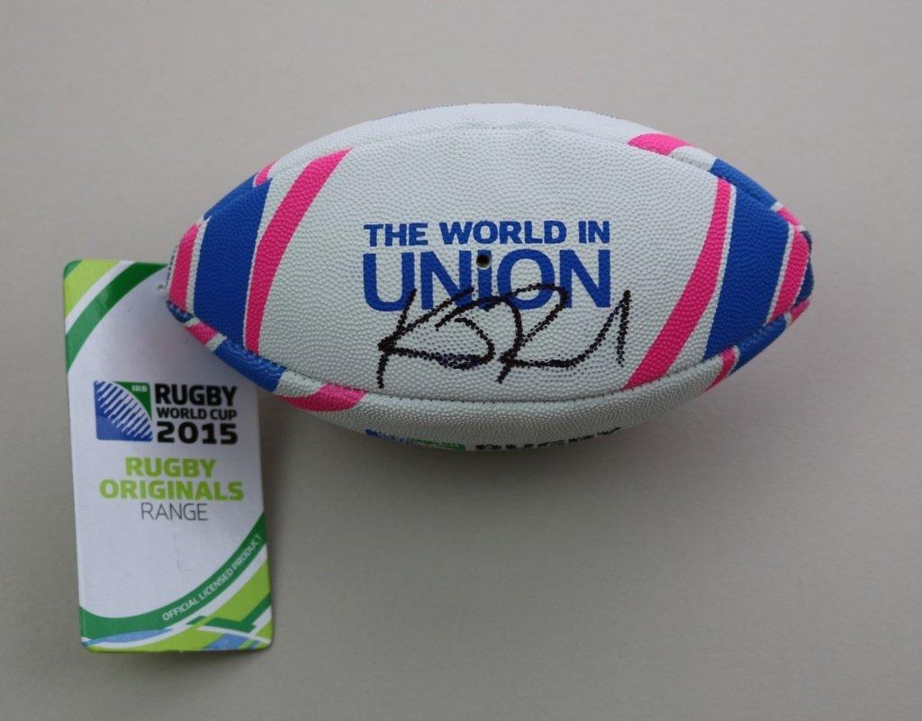 Kieran leer firmado Mini balón de Rugby autógrafo Unión Nueva ...