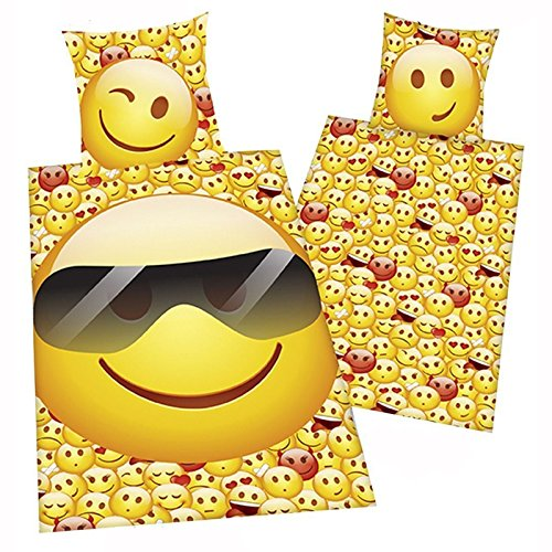 Emoji Sunglasses Single Twin Duvet Cover and Pillowcase Set