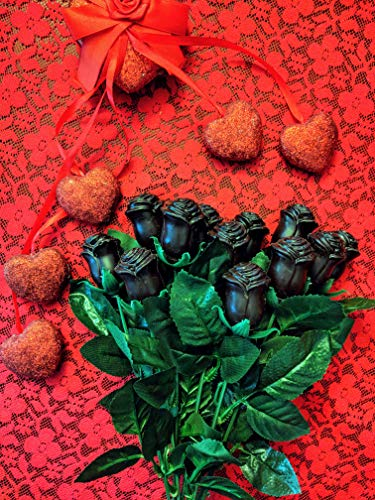 - 12 Long Stem Solid Dark Chocolate Roses by Lang's Chocolates