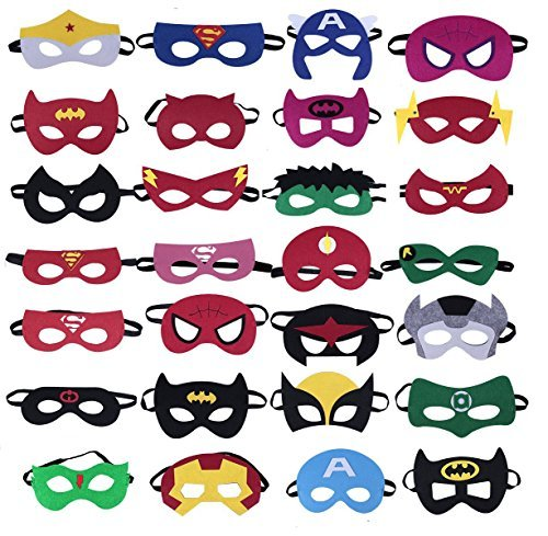 Keklle Superheroes Party Masks,28 Piece Felt Mask Birthday Party Supplies Cosplay Toy for Children/ Kids -