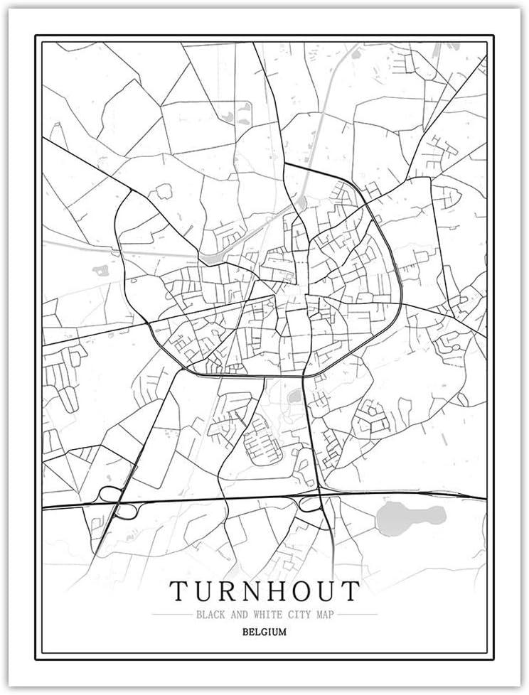 Turnhout Carte Wall Art Belgique Monde Ville Carte Affiche Imprime Noir Blanc Nordique Toile Peinture Salon Bureau DéCor à La Maison Photos 40x60 Cm Sans Cadre
