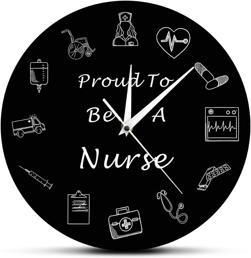 The Geeky Days Nurse 12 Inch Wall Clock Nursing Medical RN Healthcare Battery Operated Wall Clock Silent Non-Ticking Quartz Clock Medical Office Hospital Decor Art Nurse Practitioner Graduation Gifts
