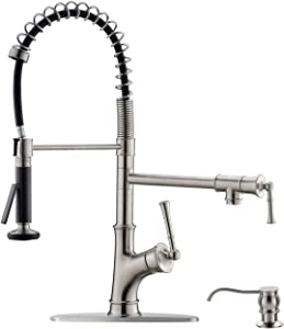 APPASO Commercial Kitchen Faucet Pull Down Sprayer and Pot Filler Stainless Steel Brushed Nickel, Single Handle Spring Pre-Rinse High Arc Tall Modern Kitchen Sink Faucet with Soap Dispenser