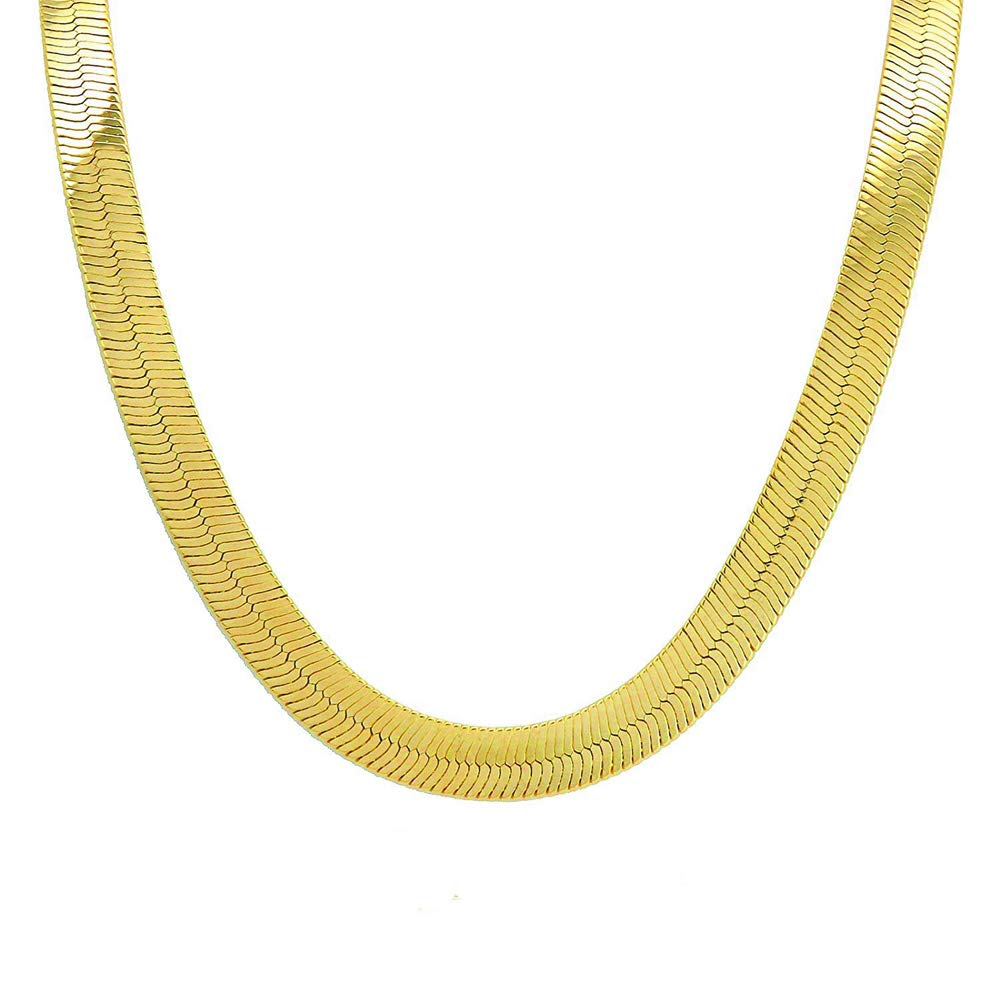 5f53be9497ee1 TUOKAY 18K Gold Herringbone Chain Necklace, 90s Fashion Hip Hop Flat Snake  Chain for Women and Men School Rapper Kit Costume Accessory, Sparkling Faux  ...