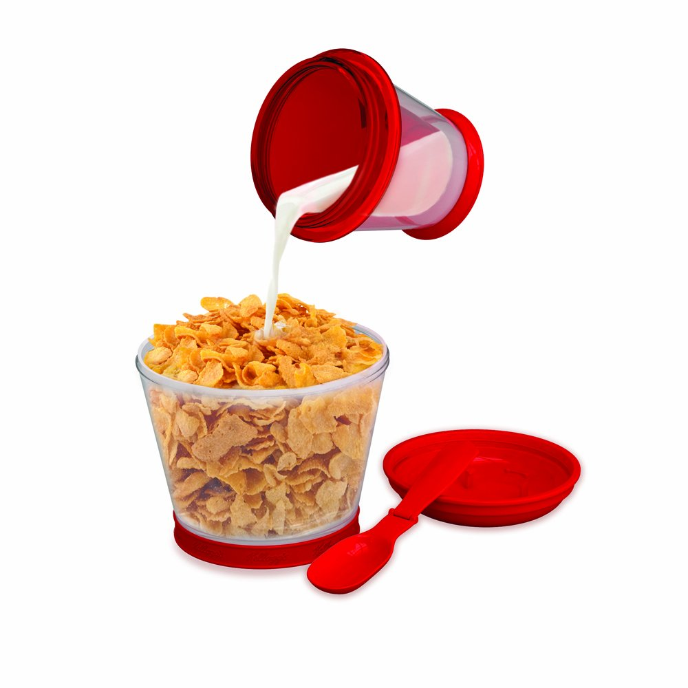 Mustard Breakfast on the go - Vintage cereal and milk travel container with spoon NG7000
