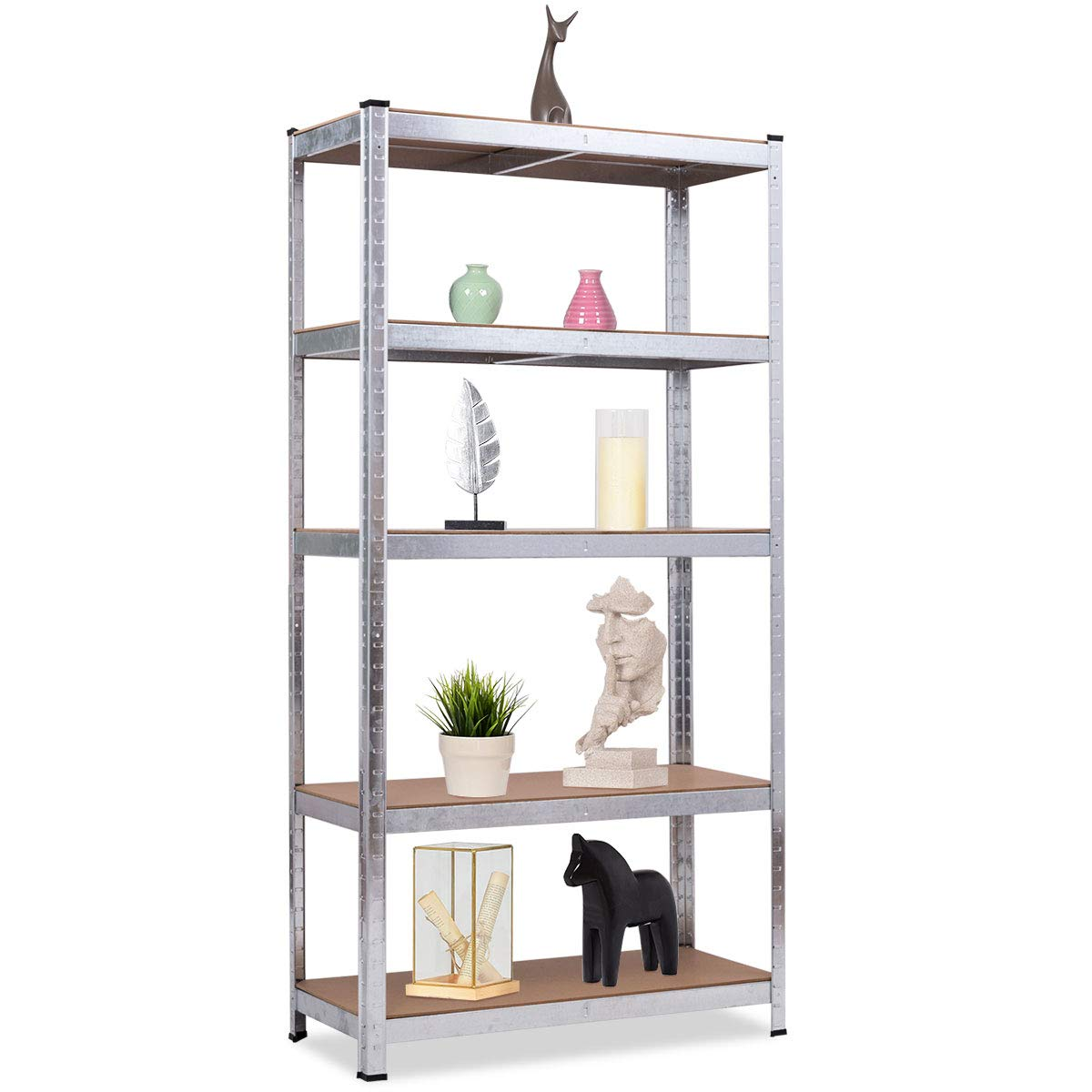 Giantex Shelving Rack Storage Shelf Steel Garage Utility Rack 5-Shelf Adjustable Shelves Heavy Duty Display Stand for Books, Clothes, Kitchenware, Tools Bolt-Free Assembly 36''x 16''x 72'' (1) by Giantex