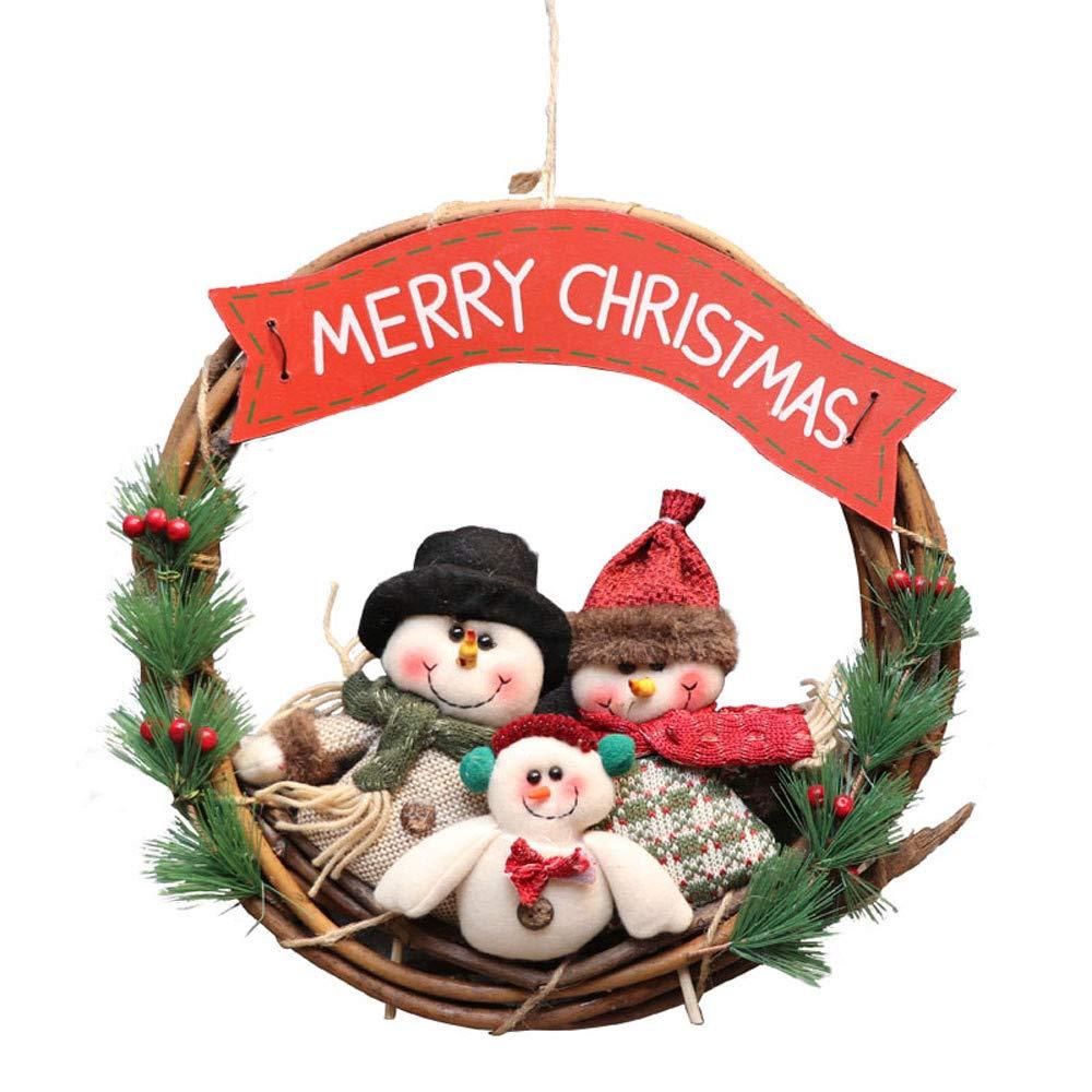 Guirnalda de Navidad de 36 cm, diseñ o de cerezo navideñ o, adornos para exteriores, para colgar en la pared de la puerta de Navidad, guirnaldas de adorno diseño de cerezo navideño Wawer