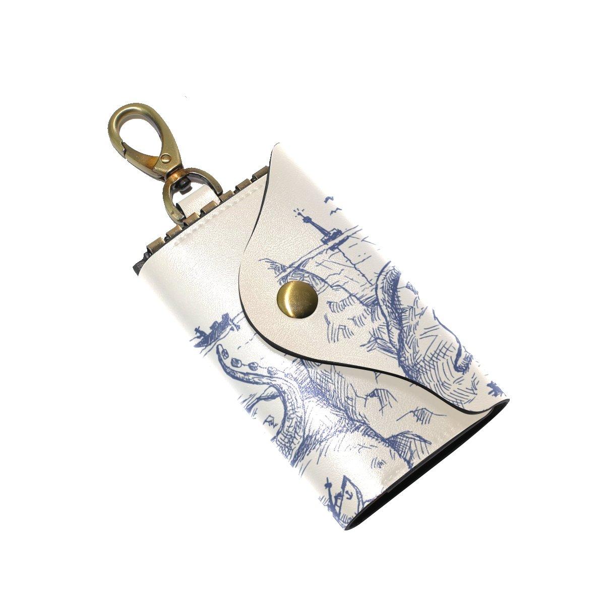 DEYYA Octopus Property Sea Deadly Leather Key Case Wallets Unisex Keychain Key Holder with 6 Hooks Snap Closure