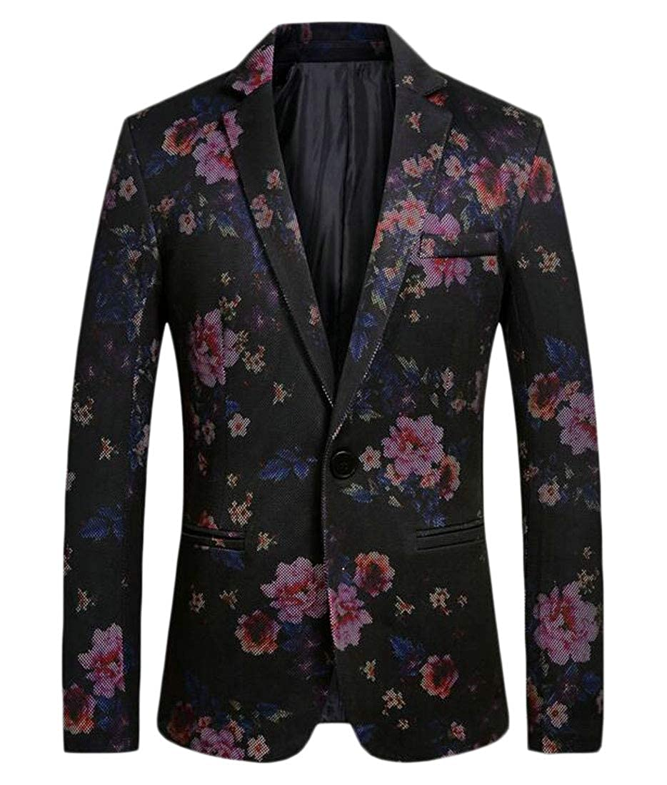 FSSE Mens One Button Casual Floral Print Slim Fit Dinner Jacket Wedding Blazer Prom Tuxedo