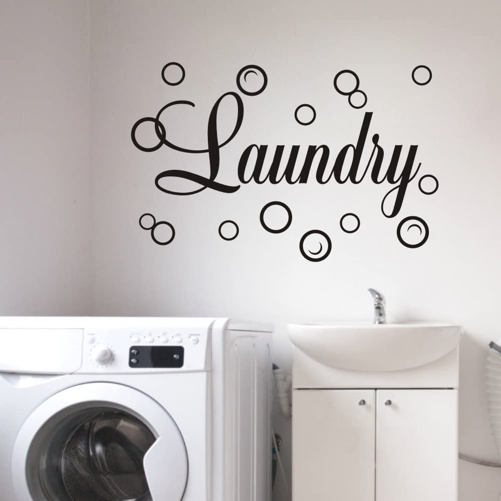 MoharWall Laundry Room Decal Quote Bubble Stciker Laundry Signs Wall Lettering Vinyl Art Sticker Decor