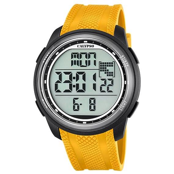 Calypso hombre-reloj deporte digital PU-pulsera cuarzo-reloj amarillo esfera negro UK5704/1: Calypso: Amazon.es: Relojes
