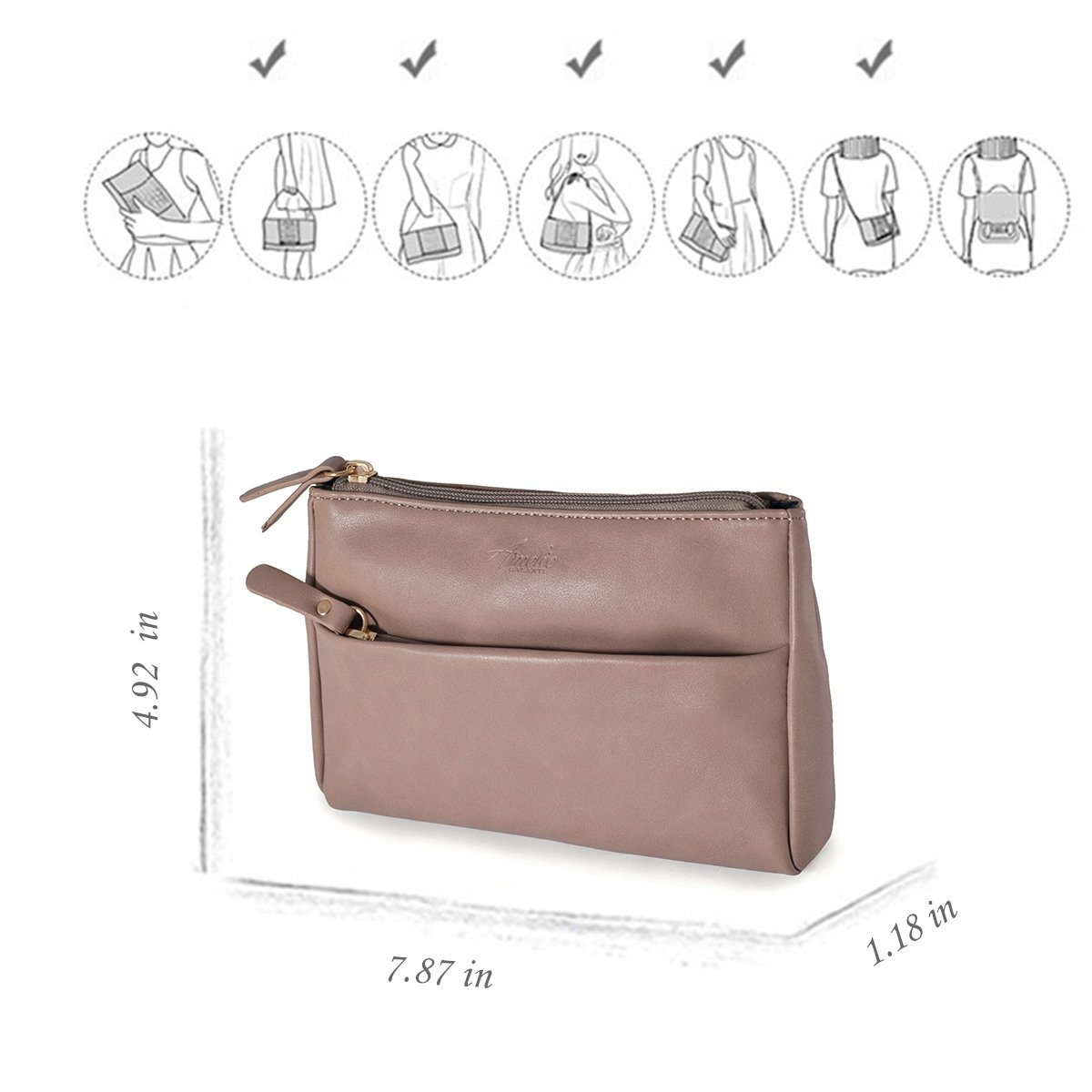 Double Zip Small Crossbody Bag Satchel for Women by AMELIE GALANTI (Image #6)