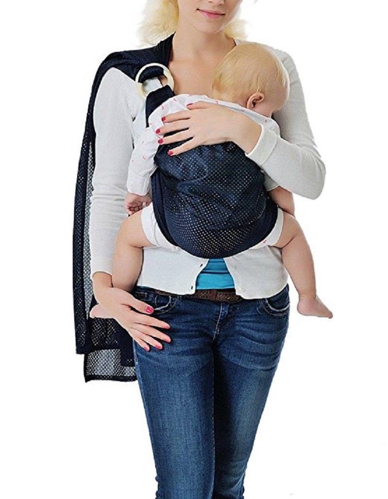 Kangaroo Baby® respirante Porte-bébé avec polyester et rapide Tissus sec intérieur Matériel Voyage en plein air Coton Confort Sécurité Newborn Infant Enfant Echarpe porte (Deep Blue) CB076