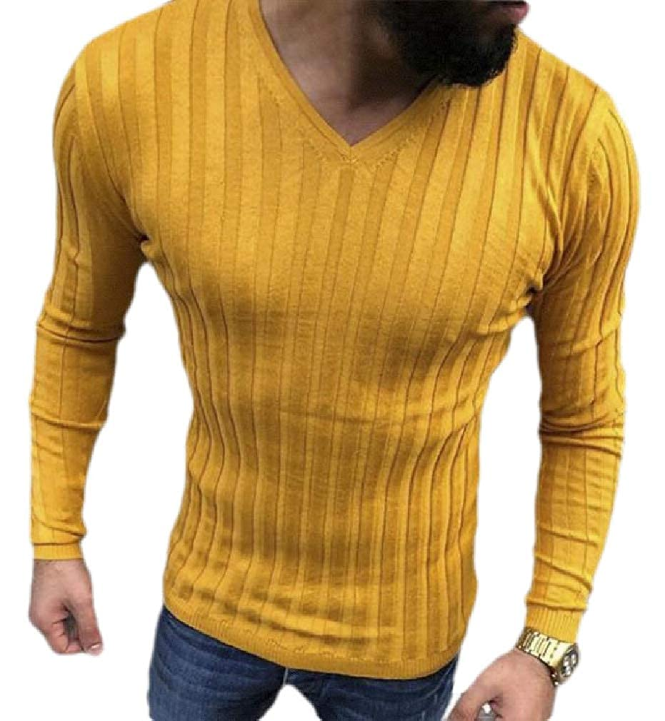 Sweatwater Mens Solid Color Tops Tees Ribbed Long Sleeve Casual V-Neck T-Shirts