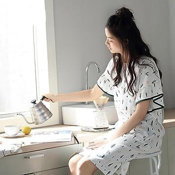 Pijamas ZHAOJING Algodón de verano de manga larga falda femenina dulce lindo túnica floja yardas grandes ropa para el hogar vestido: Amazon.es: Deportes y ...