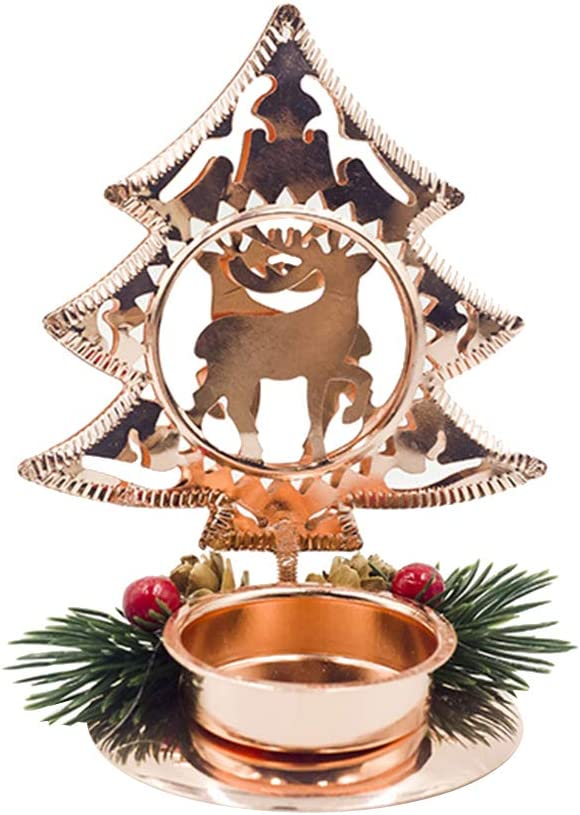 Tennessee526 Christmas Festival Ornaments Home Office Desk Decor Metal Christmas Tree Star Snowflake Heart Stand Candle Holder Candlestick Decor Golden Christmas Tree