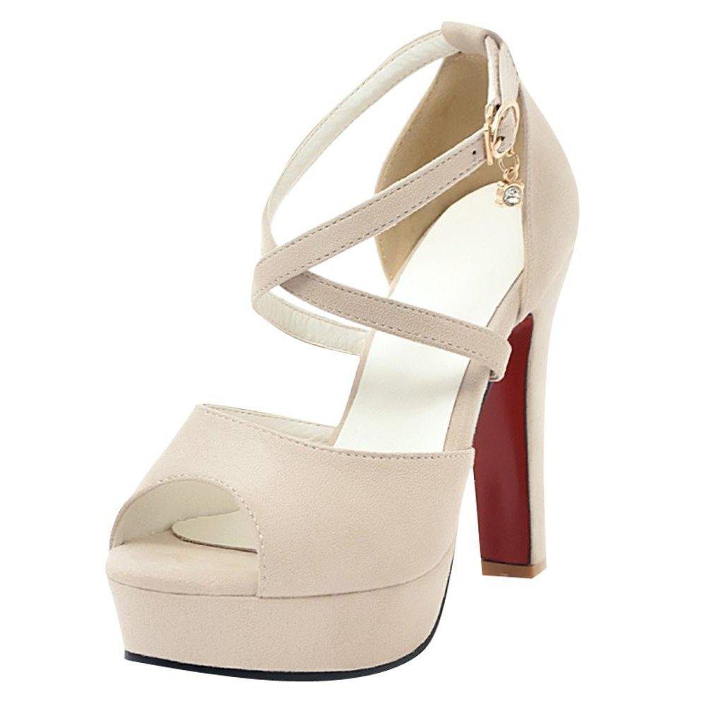 b06b730f0c3d29 YE Damen Ankle Strap Sandalen Peep Toe High Heels Blockabsatz Pumps mit  Knöchelriemchen und Plateau Elegant