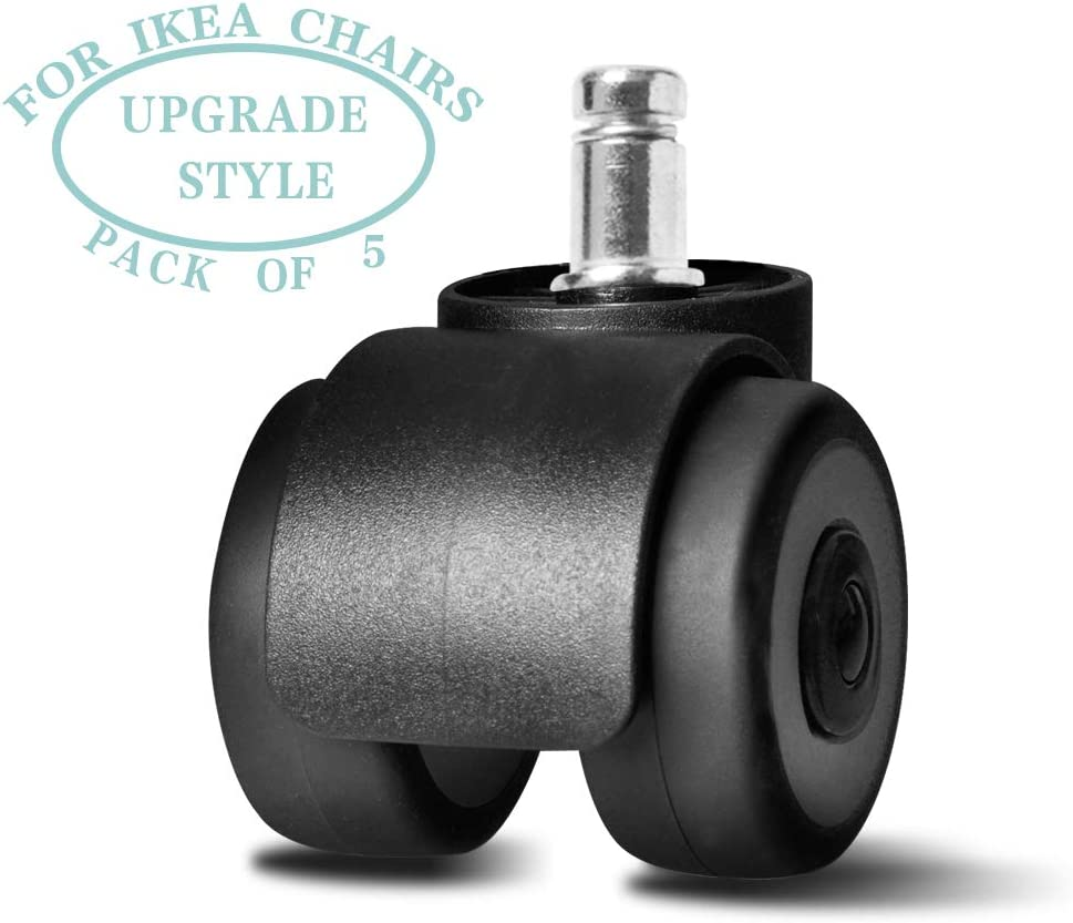 2New Type 10X22mm Castors Home Office Chair Swivel Replacement Heavy Duty Castor Wheels Unit Black with White Set of 5