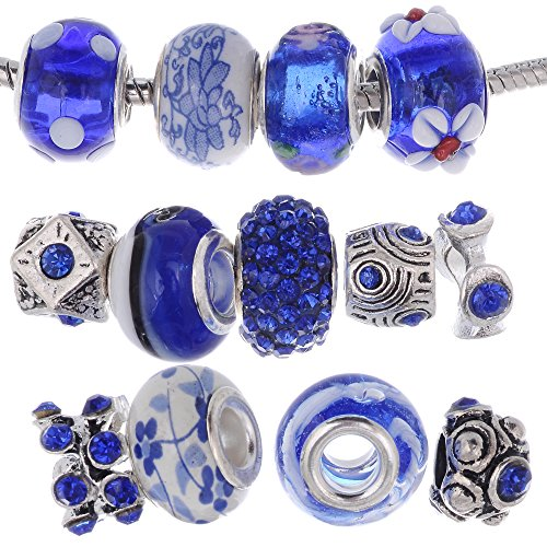 RUBYCA Murano Lampwork Charm Glass Beads Tibetan Crystal European Bracelet Mix Assortment Royal Blue 15Pcs
