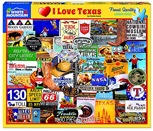 White Mountain Puzzles New I Love Texas, 1,000 Piece Jigsaw Puzzle