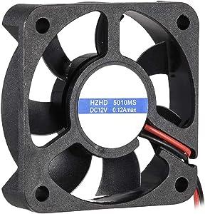 uxcell Cooling Fan 50mm x 50mm x 12mm 5010MS DC 12V 0.1A Long Life Sleeve Bearings