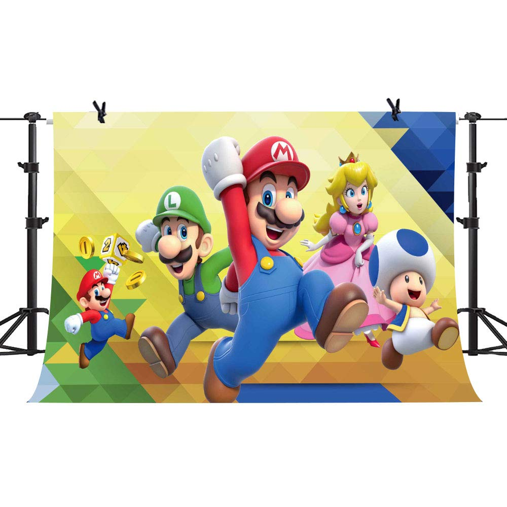 PHMOJEN Super Uncle Bros with Mushrooms Photography Background 7x5ft Cartoon Kids Children Birthday Party Backdrop Baby Shower Decoration Studio Props PPH028