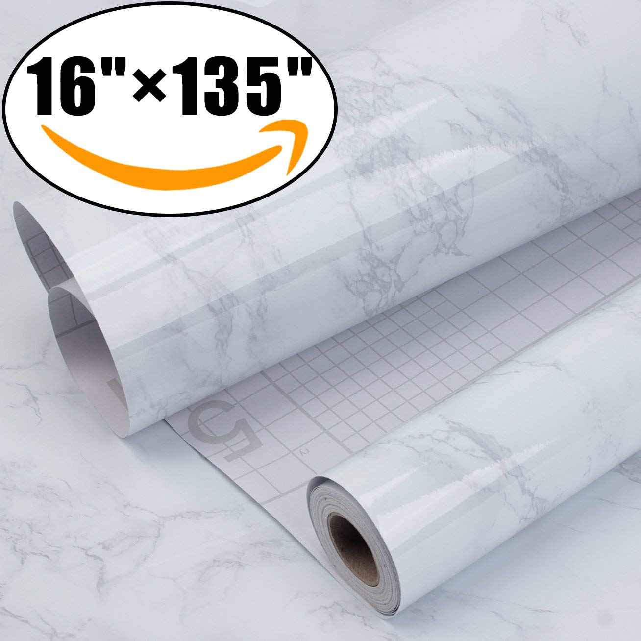 """Marble Self Adhesive Paper 16"""" x 135"""" - Granite Gray/White Roll Kitchen countertop Cabinet Furniture is renovated Thick Waterproof PVC"""