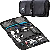 BGTREND Electronics Accessories Bag Travel Cable Pouch Organizer for USB Cable SD Card Hard Drive Flash Disk Power Bank, Black (Roll It)
