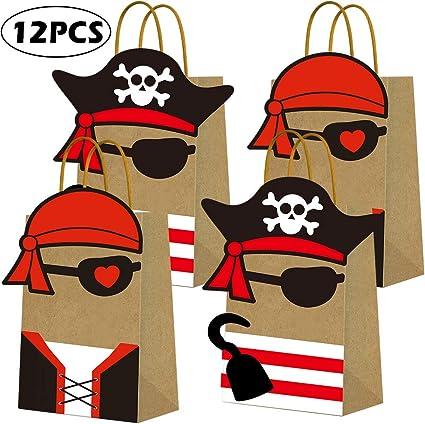 Amazon.com: Bolsas de papel kraft para fiestas piratas ...