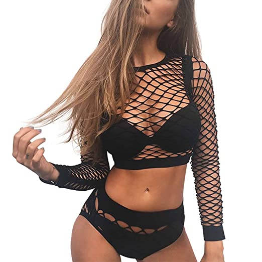 c5cbd046ed Women s Sexy Two Piece Lingerie Sets Hollow Out Fishnet Mesh Nightwear  Rompers (US 2-