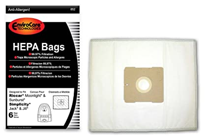 EnviroCare Replacement HEPA Vacuum bags for Riccar Moonlight and Sunburst. Simplicity Jack and Jill Canisters 6 pack