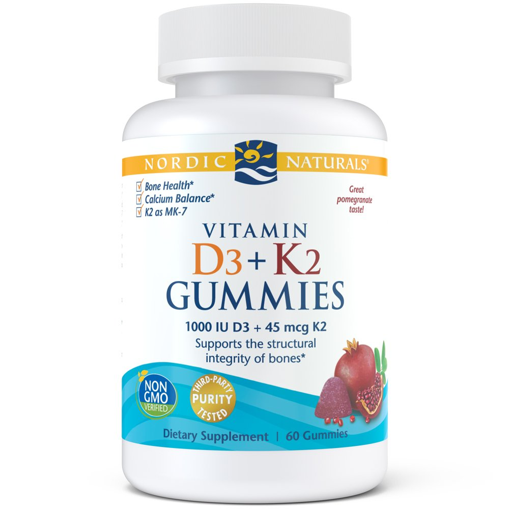 Nordic Naturals Vitamin D3 Plus K2 Gummies - Vitamin D3 from Natural Cholecalciferol for Optimal Calcium Absorption With Vitamin K2, Supports Formation of Healthy Bones, Pomegranate Flavor, 60 Count