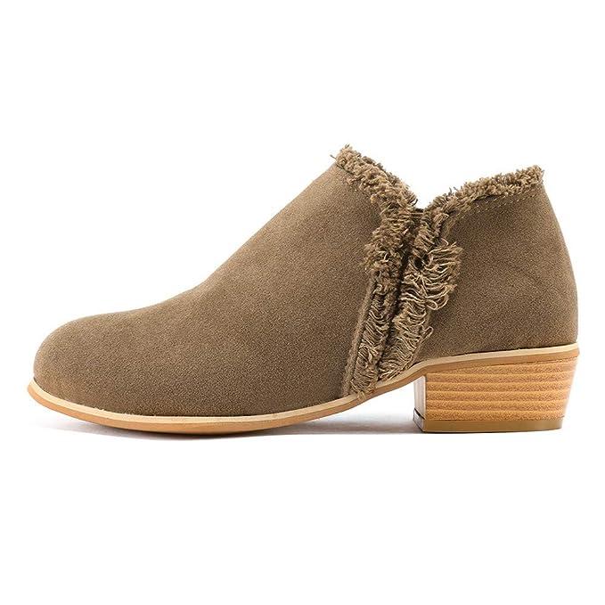 ❤ Botas Cortas para Mujer Antumn Invierno, Matorral de Moda para Mujer con Botas Sencillas Boots británicos de tacón Alto Absolute: Amazon.es: Ropa y ...