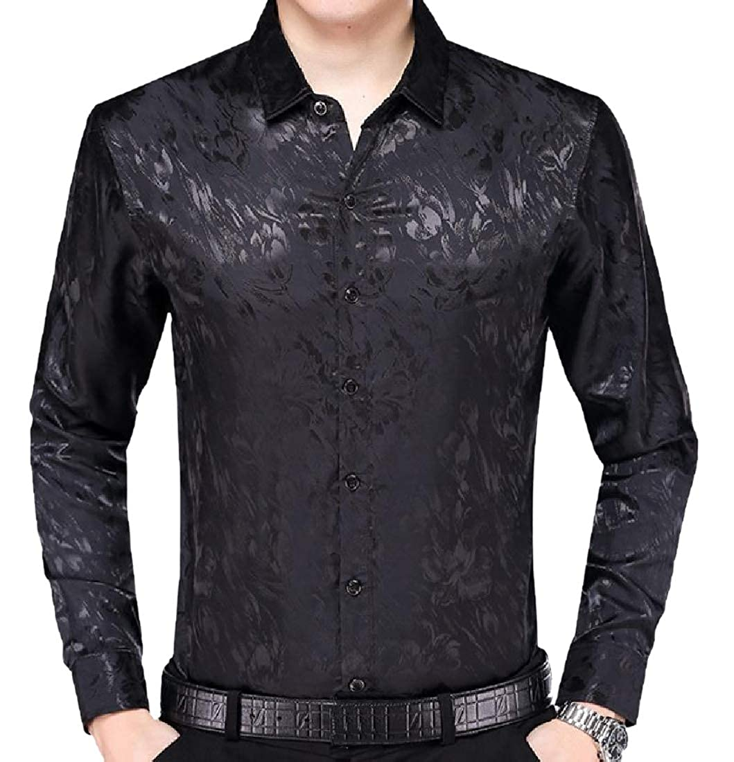 Abetteric Mens Long Sleeve Charmeuse Flower Printed Business Shirts