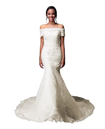 Lorie White Lace Wedding Dress Off The Shoulder Short Sleeve Mermaid