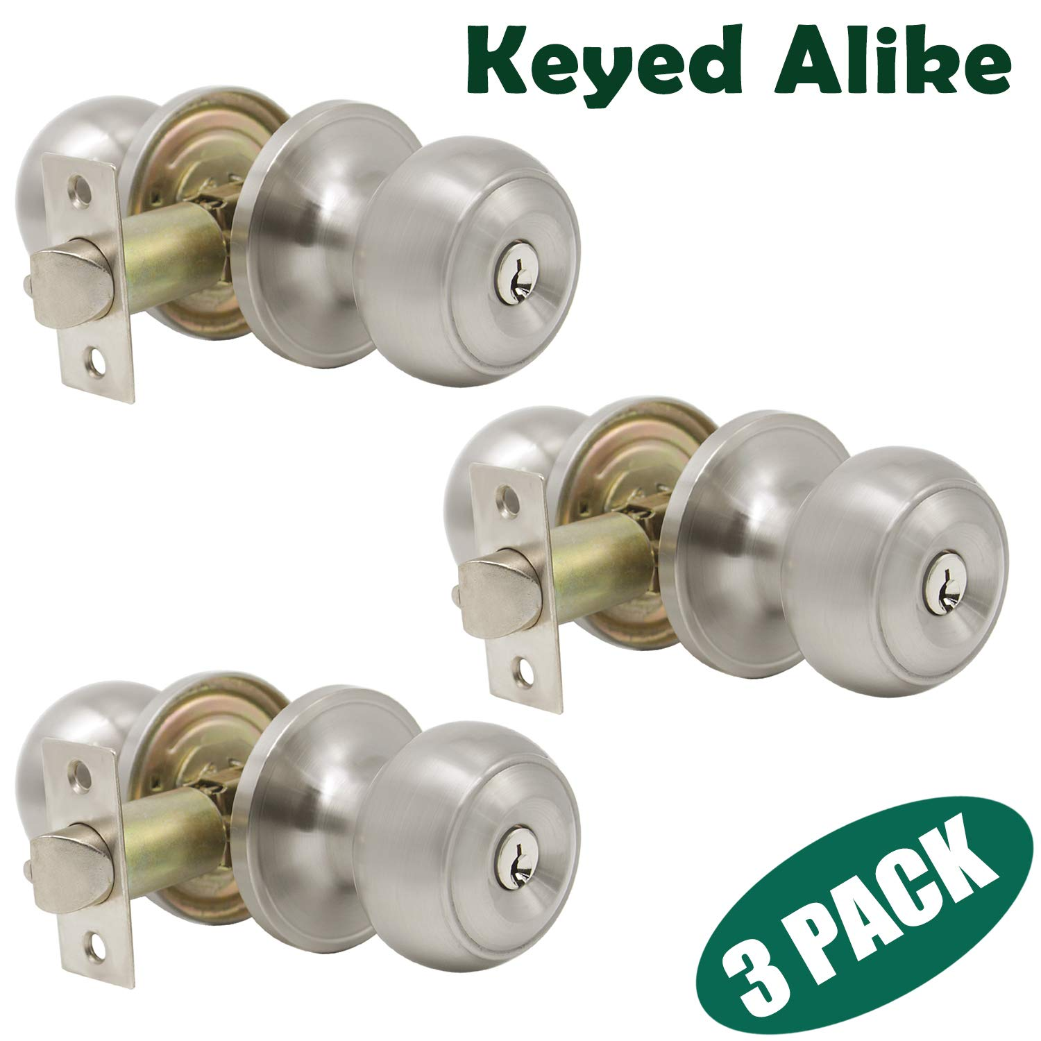 Probrico Brushed Nickel One Keyway Entrance Door Knobs Entry with Key Handles Keyed Alike Door Lockset Pack of 3