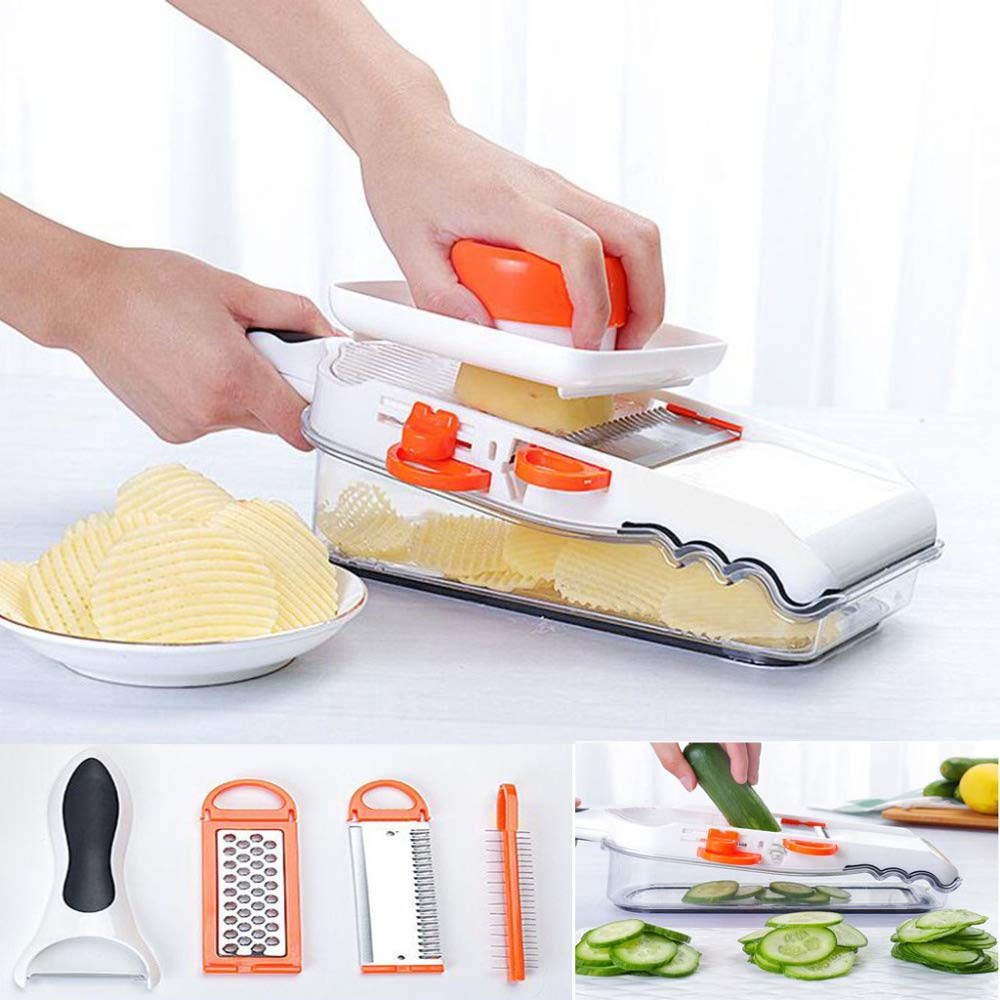DENGSH Vegetable Slicer,Household Commercial Fruit and Vegetable Chopper,Children's Food Supplement Auxiliary Tool,Multi-Function 8 in 1 Imitation Knife Cutter Durable/White / 800ML by DENGSH