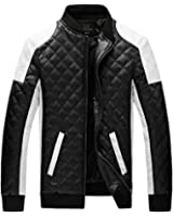 OUCHI Men's PU Leather Stand Collar Jackets Slim Front-Zip Thicken Winter Coat