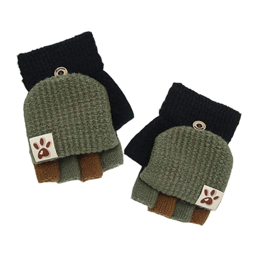 Usunny Kids Gloves Fingerless Texting Gloves with Mitten Cover Winter Warm Knitted Convertible Mittens Flap Cover