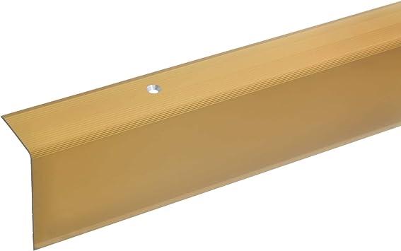 acerto 38088 Perfil angular de escalera de aluminio - 100cm 52x30mm dorado * Antideslizante * Robusto * Fácil instalación | Perfil de borde de escalera perfil de peldaño de escalera de aluminio: Amazon.es: Bricolaje y herramientas