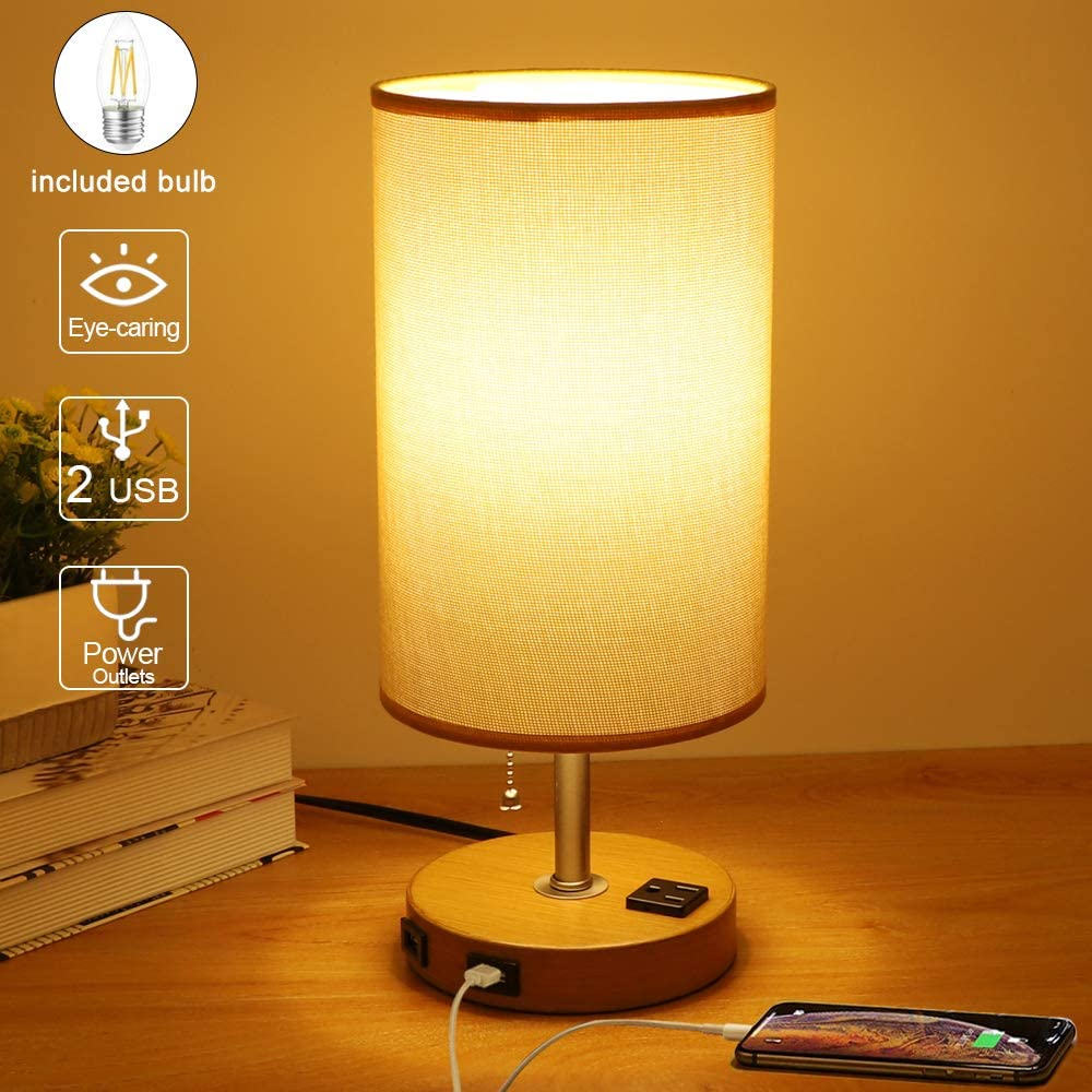 DLLT Modern Table Lamp with Dual USB Charging Ports, Solid Wood Nightstand Light with Round Fabric Shade Bedside Desk Lamp Lighting for Bedroom/Guest Room/Bookcase/Living Room E26 Bulb Included, Warm