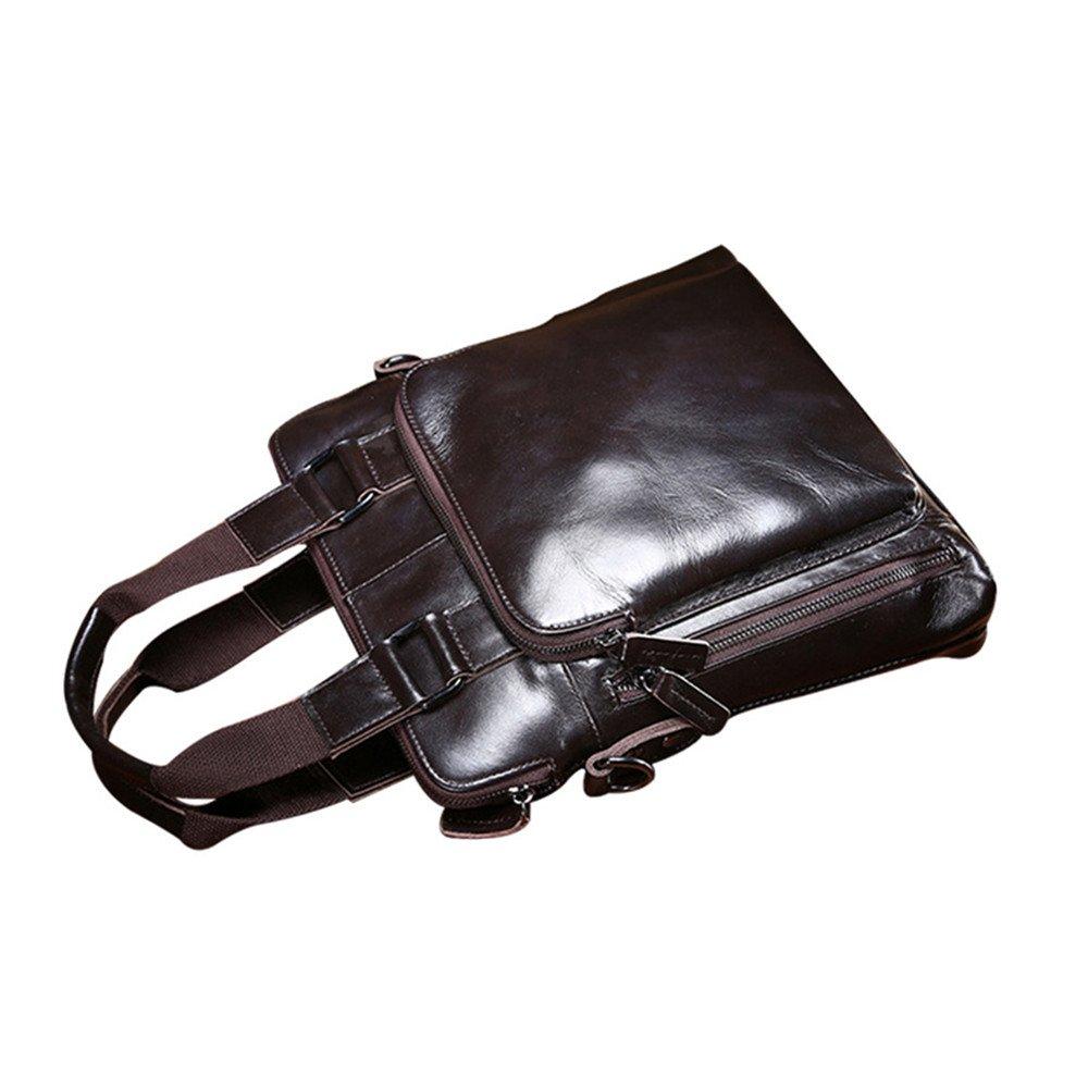 WUSHIYU Mens Messenger Bag Mens Briefcase Head Oil Wax Leather Business Bag Shoulder Messenger Bag Suitable for Business Casual Satchel Shoulder Bag
