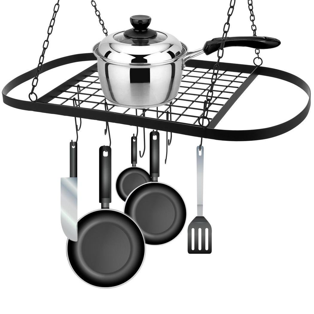 Pot Racks Ceiling Mounted, Hanging Pot Holder with 10 Hooks for Kitchen Cookware Utensils (Black with 10 Hooks)