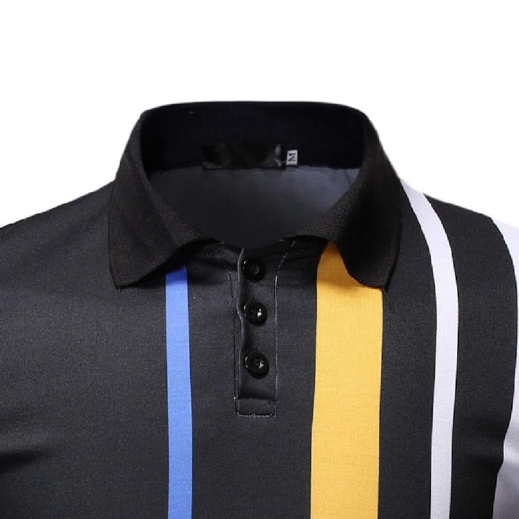 Abetteric Men Tops Contrast Short-Sleeve Summer Active Comfort Polo Shirts