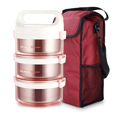 6769c170f394 Amazon.com: Insulation lunch box 3-layer stainless steel thermos ...