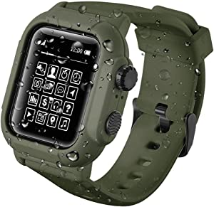 Apple Watch Series 5/4 44mm IP68 Waterproof Case,Waterproof Case for Apple Watch 42mm Series 3/2,Full Body Protective Case with Soft Silicone Band (Green, 42mm Apple Watch Series 3/2 Case)