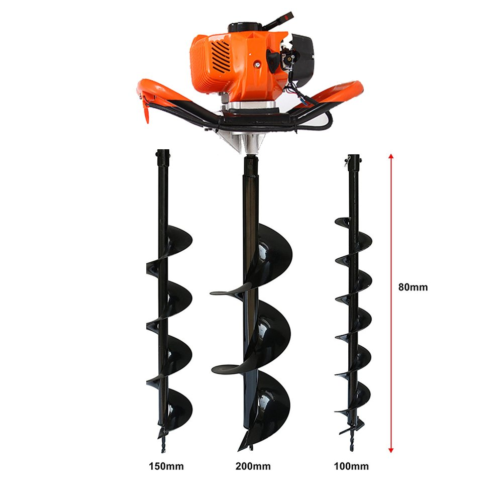One Man Earth Auger, 52cc 2-Cycle 2.3 HP Petrol Powered Earth Auger Post Hole Borer Ground Drill Digger + 3 Bits bgOT-ML-319