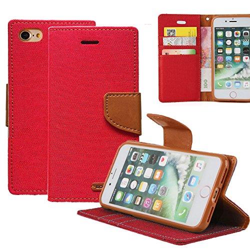 Funda iPhone 7 REXANG Teléfono móvil conjuntos de lona , Lona+ TPU , TPU Silicona Case Interna Suave,Soporte Plegable,Ranuras para Tarjetas y Billetera,Cierre Magnético (iPhone 7, Azul) Rojo