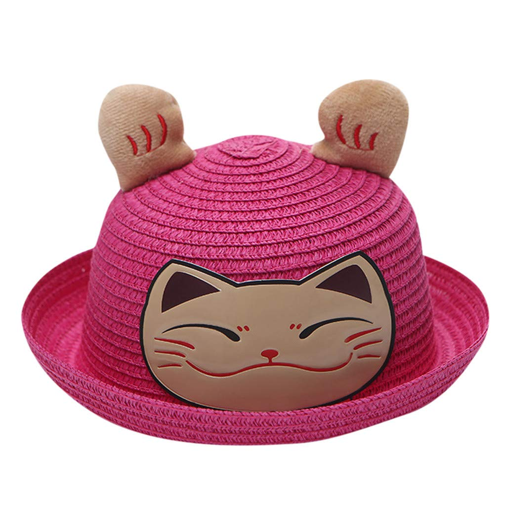 Wesracia Baby Girls Cute Hat Sun Protection,Breathable Soft Straw Hats Cartoon Kitty Hat with Ears 6~24 Months Old (Hot Pink)
